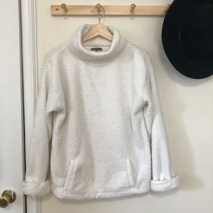 Gap off white fuzzy Sherpa cowl neck sweatshirt M